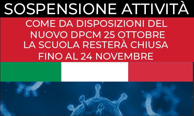 Sospensione attività DPCM 25 ottobre